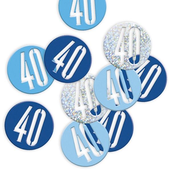 Glitzerkonfetti, Zahl 40 in blauen und silbernen Farben