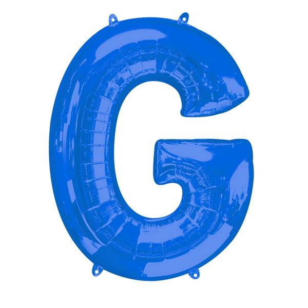 """Folienballon Buchstabe """"G"""" in Blau für persönliche Glückwünsche, 81×63cm"""