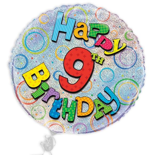 "Folienballon ""Happy 9th Birthday"", prismatischer Heliumballon, Ø 45cm"