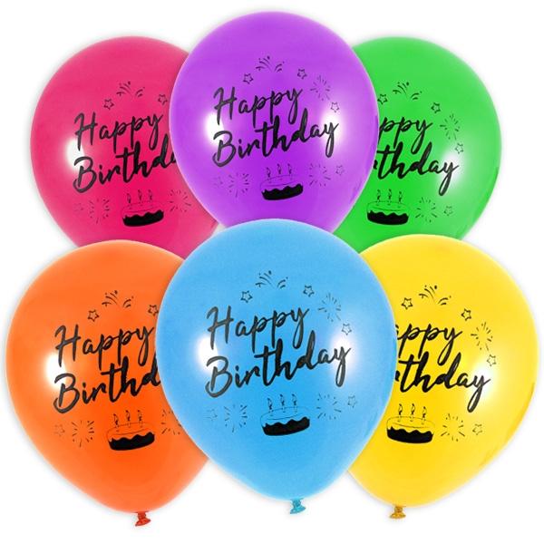 Happy Birthday Luftballons, 12er, Ø 23cm