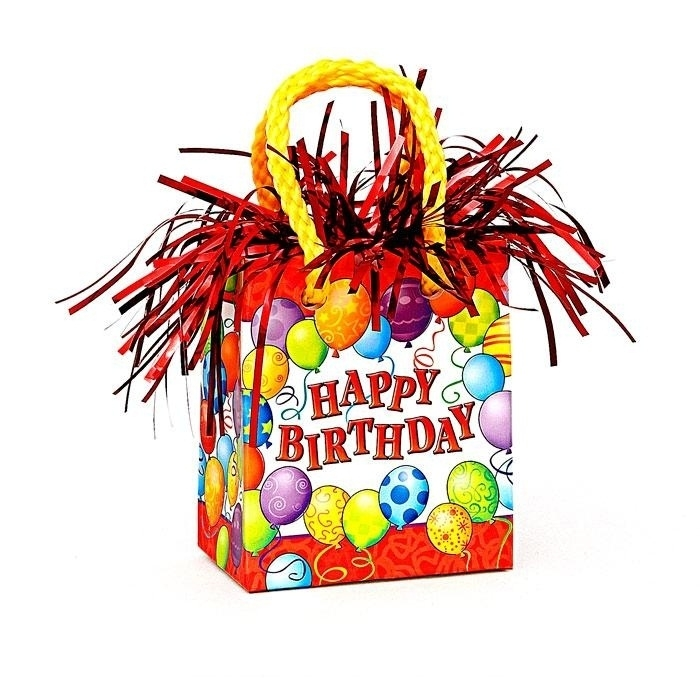 Ballongewicht HappyBirthday,farbenfrohes Ballonanhängsel 8,5 cm,162g
