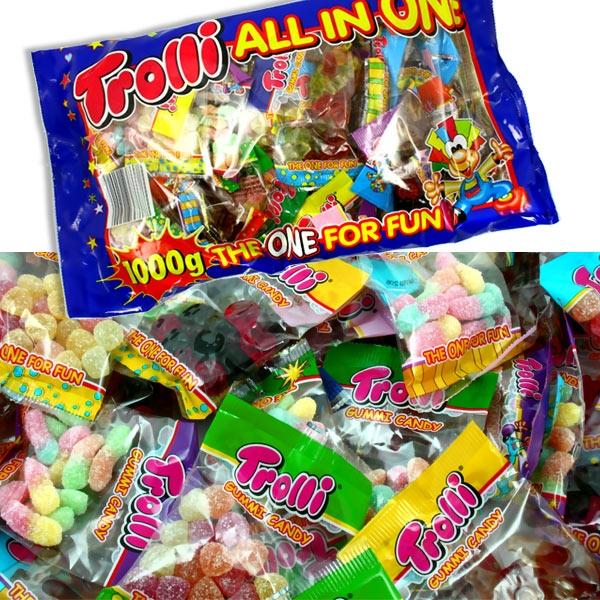 Trolli All in One - Großpackung 1kg, mit versch. Süßigkeiten in kleinen Tütchen