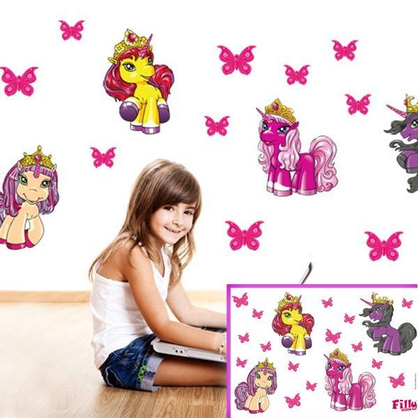 Wandtattoo-Set Filly Unicorn 19tlg., Einhorn-Wanddeko für Mädchen