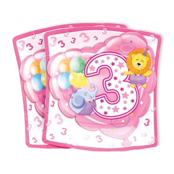 Kleine Partyteller, 3. Geburtstag Mädchen, 10 Stück, 19 cm