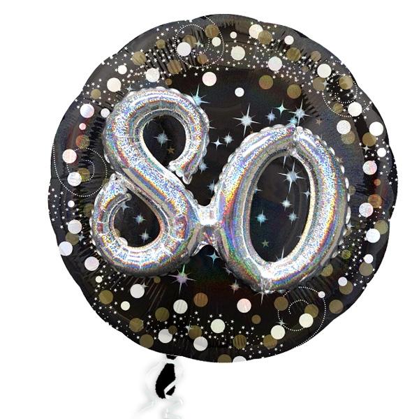 XXL Glitzer-Folieballon Set mit 3D Effekt zum 80. Geburtstag