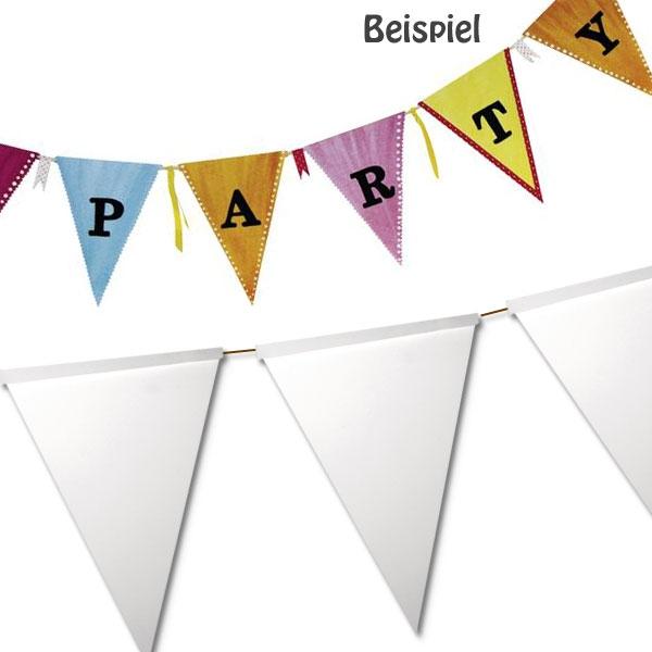 Weiße Girlanden mit 14 dreieckigen Wimpeln,ideal zum Bemalen,14,5x20cm
