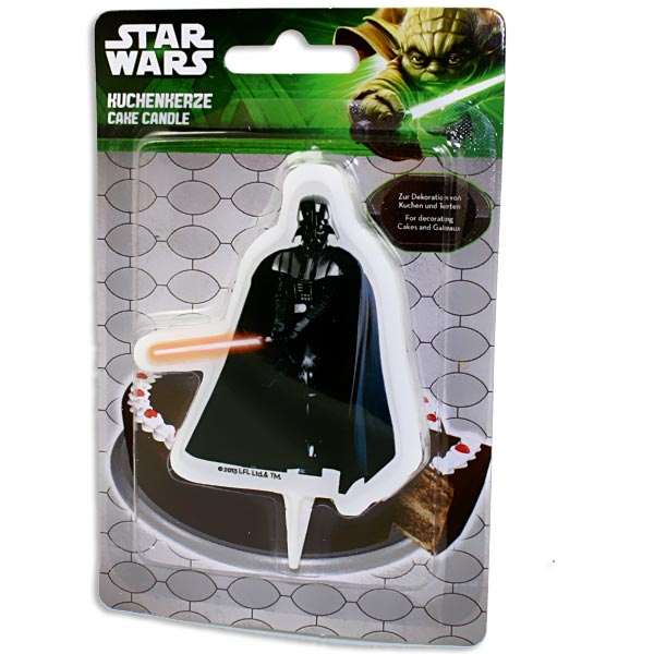 Darth Vader Kuchenkerze, 10x1cm für Star Wars Motivtorte, 1 Wachskerze