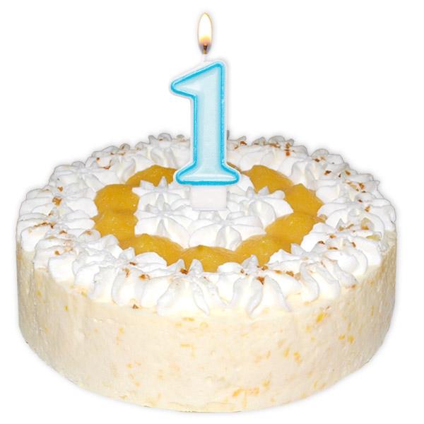 Hellblaue Zahlenkerze zum 1. Geburtstag Junge, Baby-Boy, Kuchenkerze, Tortendeko