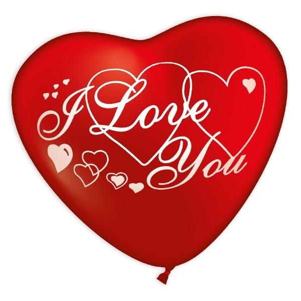 Riesenherz I Love You, großer Herzballon für Valentinstag, 50cm