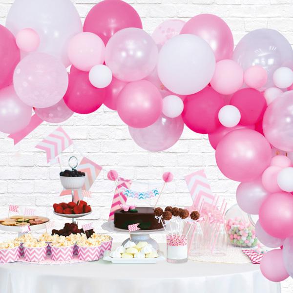 Ballongirlande zum selber basteln, pink, 71-teilig