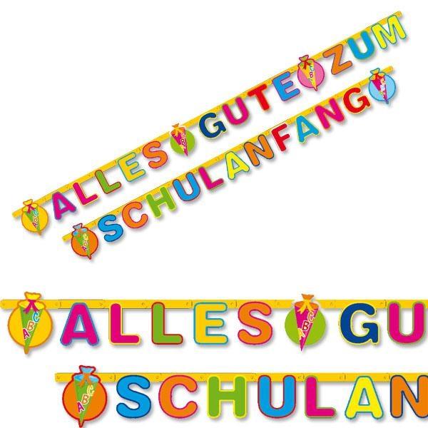 Partykette Alles Gute zum Schulanfang, ca. 3m, mit Zuckertüten-Motiv