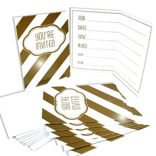 Einladungskarten, Goldene Zeiten, 8er Pack, 9,8cm x 13,6cm, inkl. Umschläge
