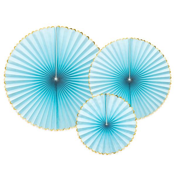Fächerblumen in hellblau mit Gold, 3 Stück