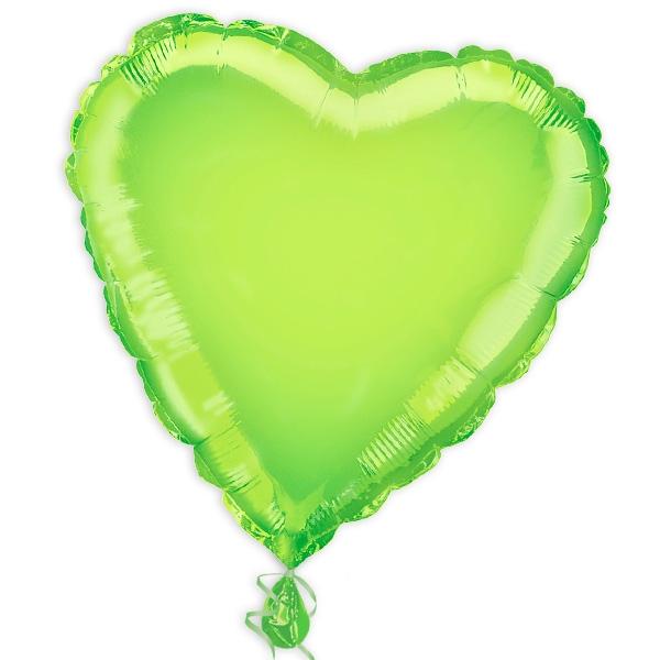 Herz-Folienballon hellgrün 35 cm, grüner Herzballon zum Beschriften