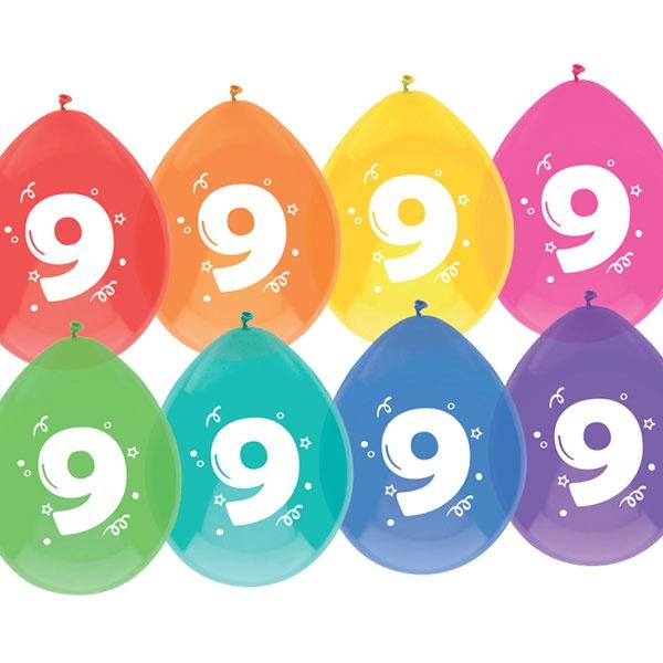 """Luftballons, bedruckt mit der Zahl """"9"""""""