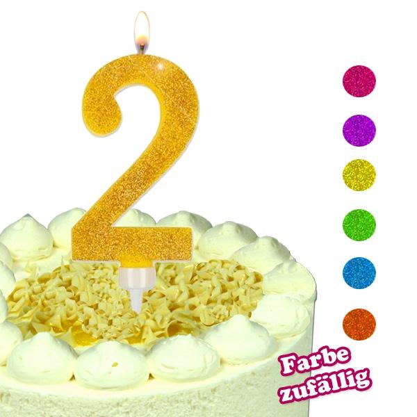 Zahlenkerze 2, große Glitzerkerze, Deko für Torte zum 2. Geburtstag