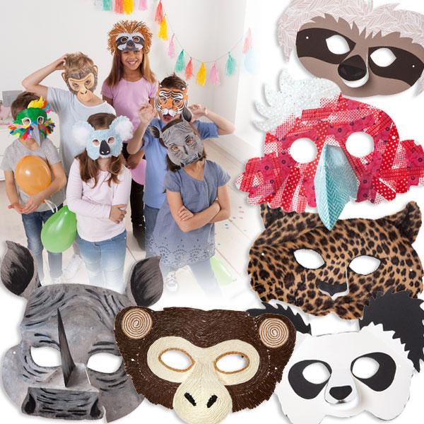 Kindermasken zum Bemalen und Bekleben, 6 Stück