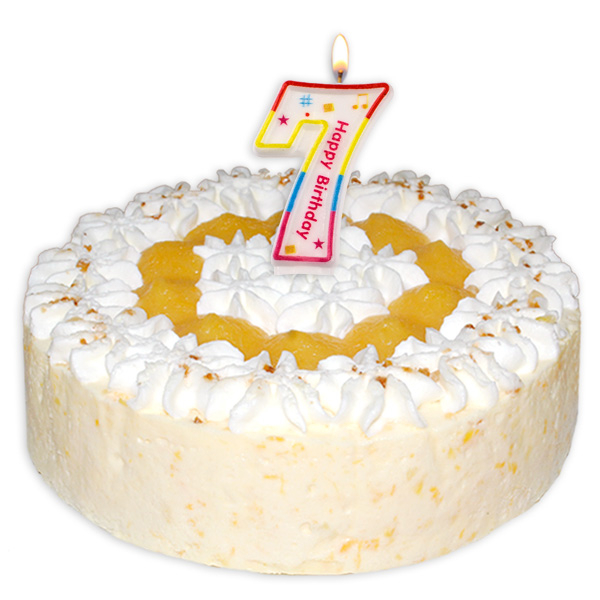 "Zahlenkerze ""7"" mit Happy-Birthday-Aufdruck"