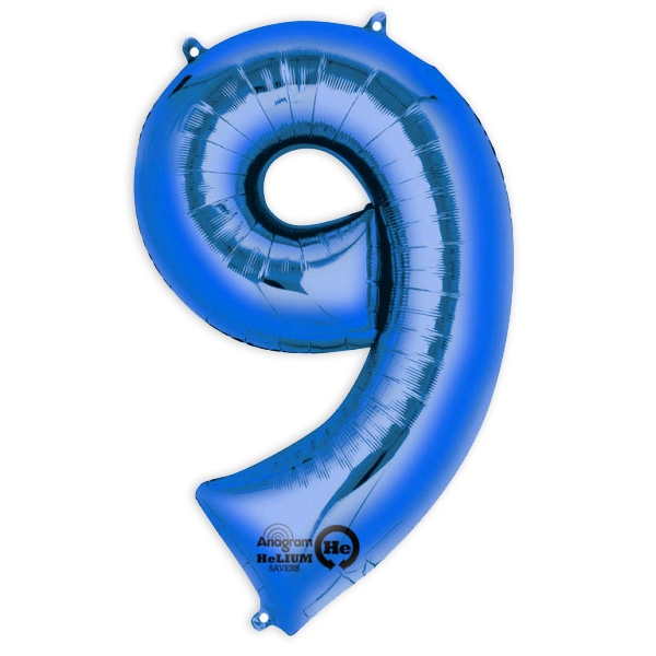 "Folienballon  Zahl ""9"" - Blau,  63 x 86 cm"