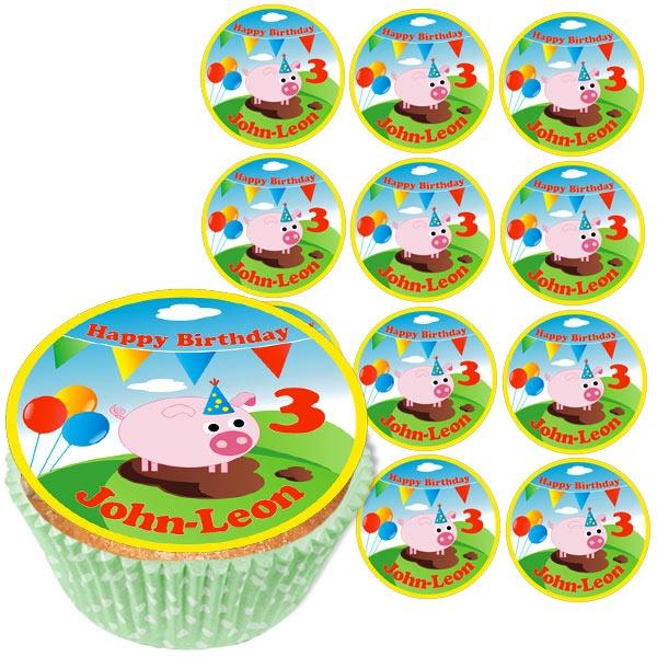 Personalisierte Muffinaufleger, 12er, Schweinchen