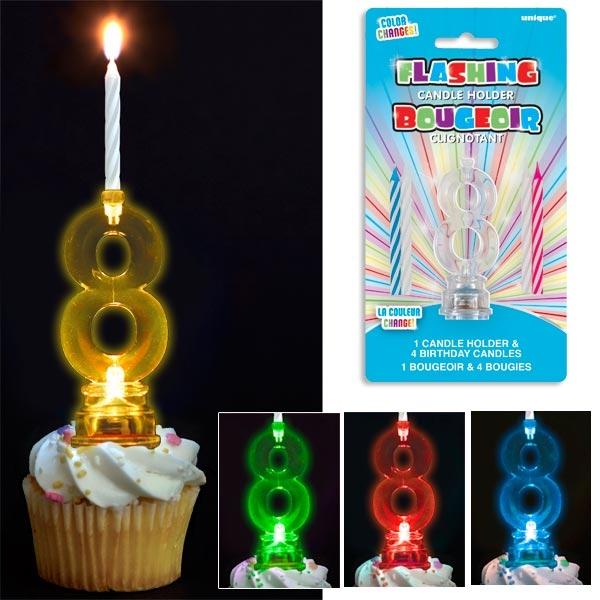 Geburtstagszahl 8 als Kerzenhalter für Fooddeko + 4 Kerzen