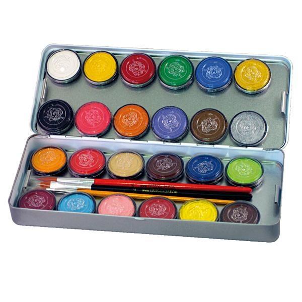 24 Schmink Farben, Metall-Palette, 24 mal 3,5ml Farben, 3 Profi-Schminkpinsel