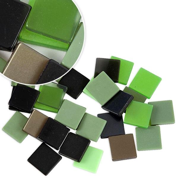 Mosaiksteine in Grüntönen, 25g, ca. 100 Mosaik-Quadrate aus Resin, 1cm