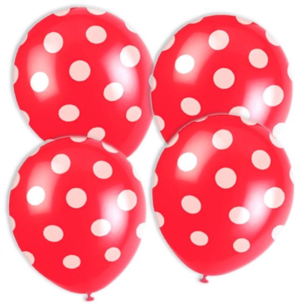 rote Ballons +weiße Punkte 6 Stk.