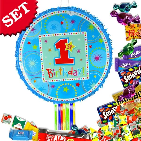 Pinata-Set Birthday Boy: Zugpinata +bunte Bänder +süße Pinatafüllung