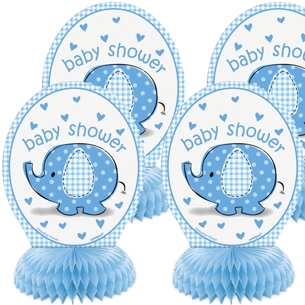 Wabendeko mit blauem Elefanten für Baby Shower Party Jungs, 4 Stück