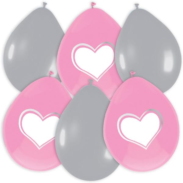 Herzballons rosa/silbern, 6 Latex-Luftballons mit Herz-Aufdruck