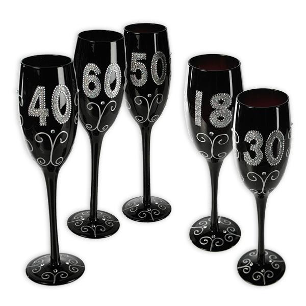 Schwarzes Sektglas mit Glitterbeschriftung, verschiedene Zahlen-50
