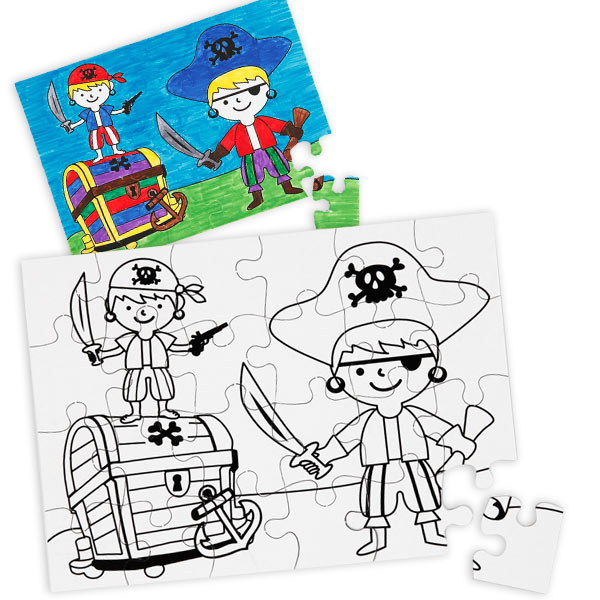 Piraten Puzzles zum Bemalen, 2er Pck, 14,5cm x 20,5cm