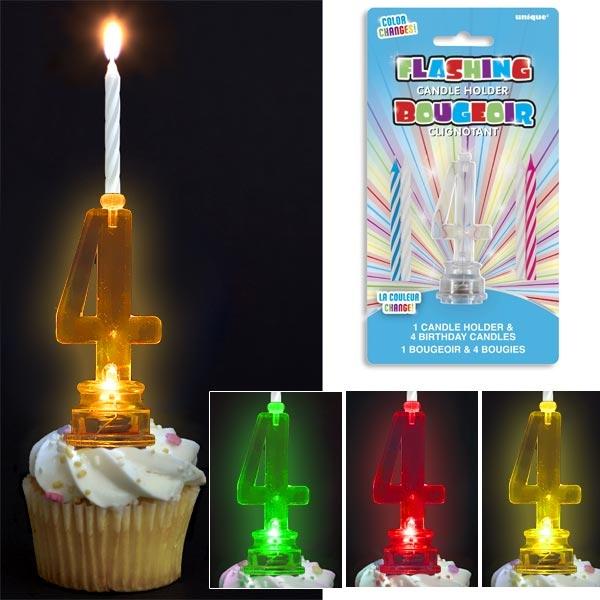 Geburtstagskerzen-Ständer als Zahl 4 blinkend, mit 4 Kerzen