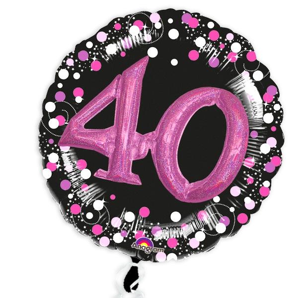 Glitzer-Folieballon Set mit 3D Effekt in schwarz-pink zum 40. Geburtstag