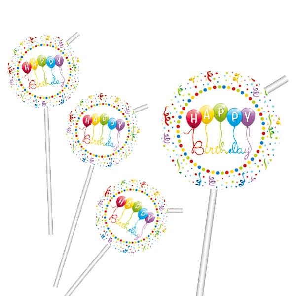 """""""Happy Birthday Luftschlangen"""" Strohhalme 6 Stk, 23,5cm"""
