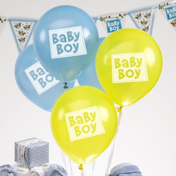 Kleine Eule Baby Boy Ballons, 8er Pack, blau, gelb, Eulen Raumdekoration Party