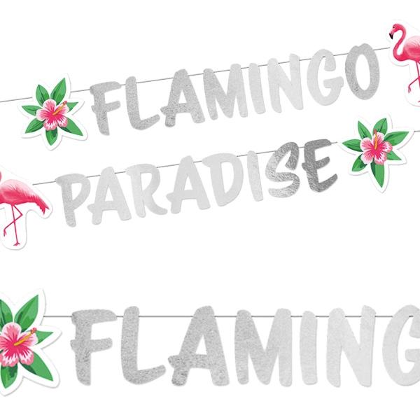 Partykette Flamingo Paradise  135cm, mit Motiven aus stabiler Pappe, 13 cm