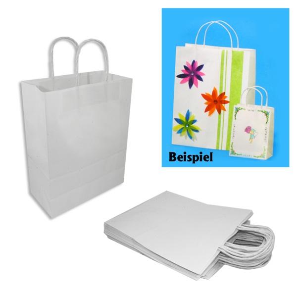 20 Weiße Papiertaschen KLEIN, starkes Material, 12cm x 5,5cm x 15cm, zum Gestalten