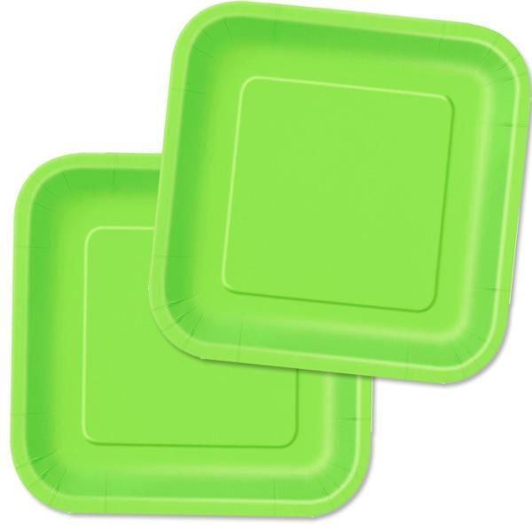Partyteller limettengrün eckig, Einwegteller aus Pappe, 16er Pack