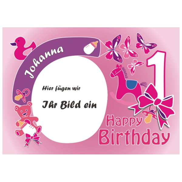 Aufleger für Fototorte zum 1. Geburtstag Mädchen +Name +Alter, ZA4