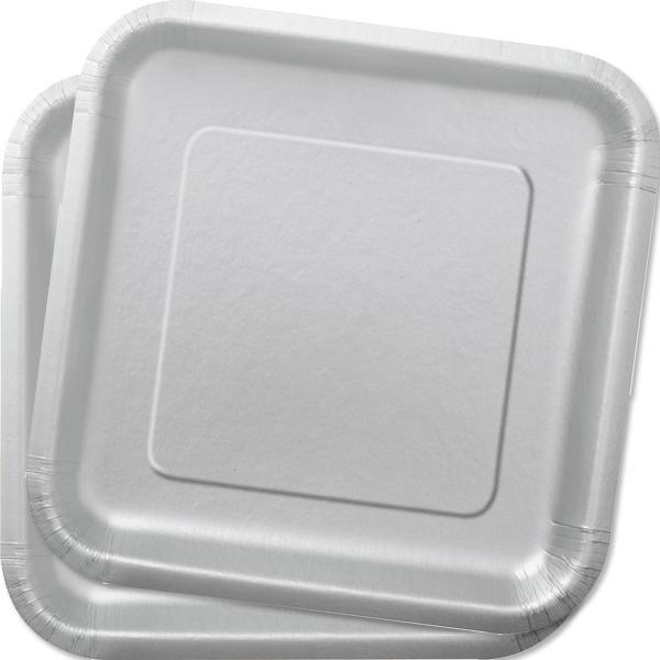 Partyteller eckig silbern, 14 Stück pro Packung, Pappe, einfarbig, 23 cm