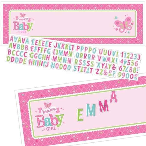 Welcome Baby Girl Personalisierbarer Banner mit Stickern, 165,1cm x 50,8cm