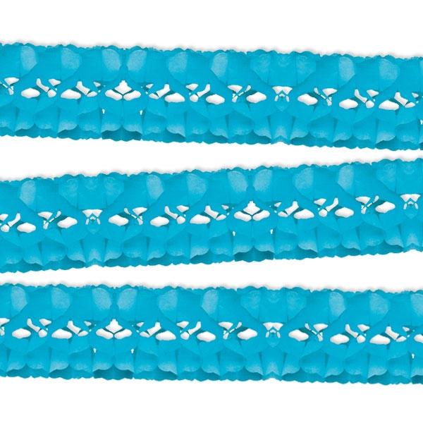 Girlande in Hellblau, 5m, 1 Stück, Papiergirlande für Fasching/Birthday