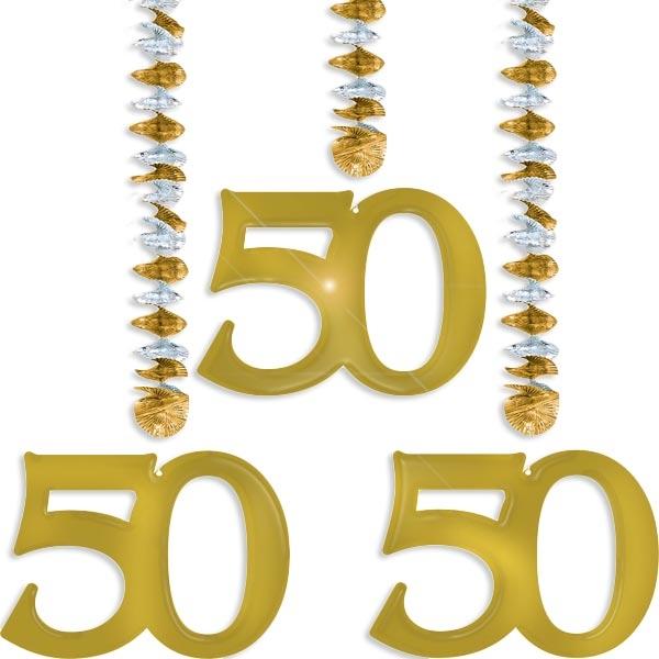 Rotor-Spiralen Zahl 50 gold, für 50. Geburtstag oder goldene Hochzeit als Hängedekoration, drei Elemente