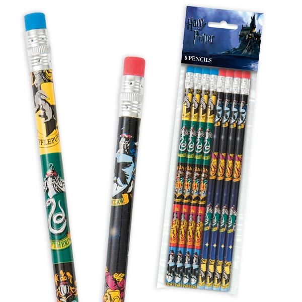 Harry Potter Bleistifte mit Radierer, 8 Holzbleistifte mit Wappen