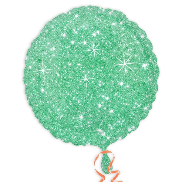 Folienballon grün im Glitzer-Design, Ø 34cm, heliumgeeignet