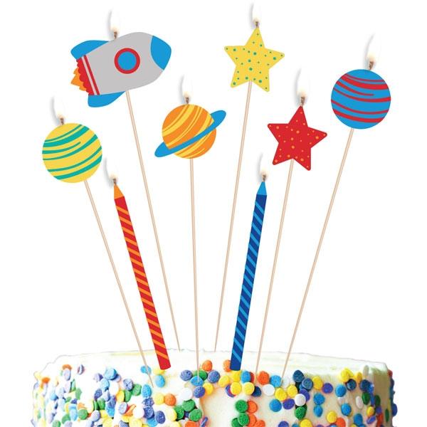 Weltall Geburtstagskerzen, 8er Pck, Motivkerzen, bis 5,7cm