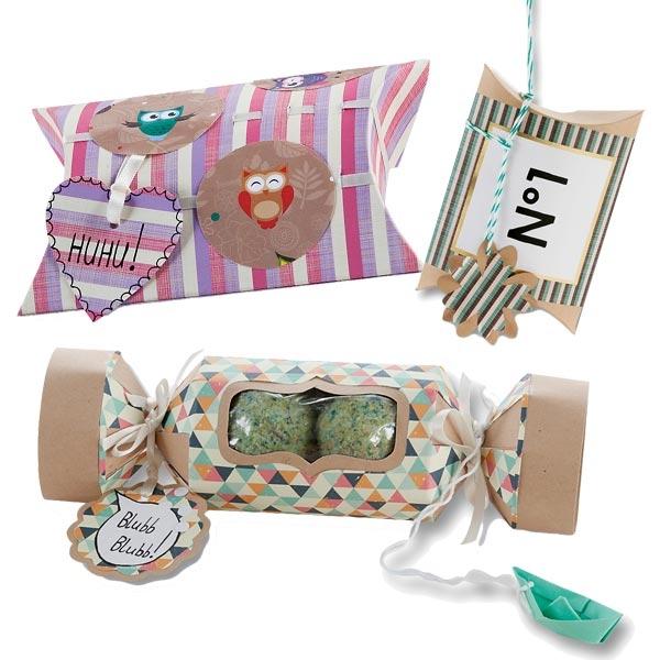 8 Geschenk-Schachteln Bastelset, Kissen- u. Bonbonform plus viel Zubehör