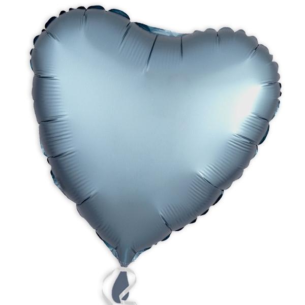 Folienballon als Herz Stahl-Blau 34 cm
